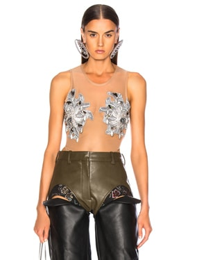 Swarovski Embroidered Body Suit Top