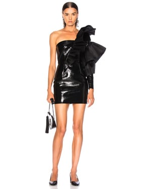 for FWRD Mini Leather Organza Flare Dress