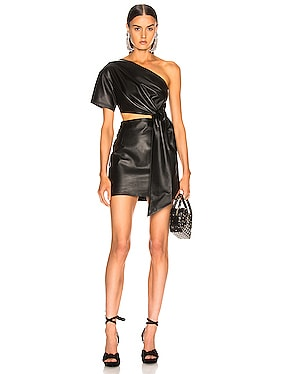 One Shoulder Mini Leather Dress