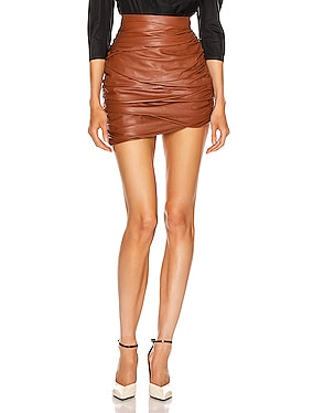 Asymmetric Mini Draped Leather Skirt