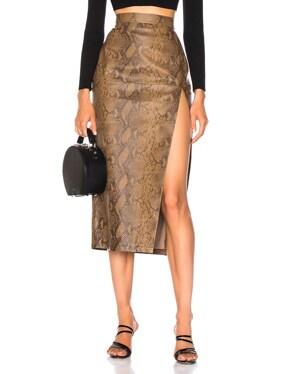 for FWRD Snake Skin Print Leather Midi Skirt