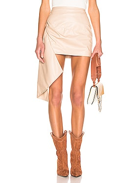 Asymmetric Mini Leather Skirt