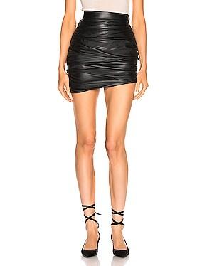 Draped Mini Leather Skirt