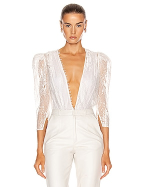 Deep V Neck Lace Bodysuit