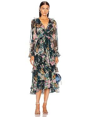 Wavelength Scallop Frill Midi Dress
