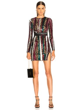 Geode Stripe Sequin Long Sleeve Mini Dress