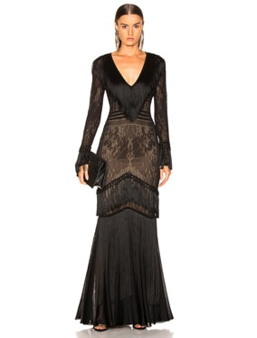 Fringed Knit Gown