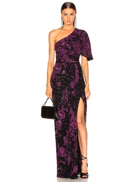Patchwork Embroidery One Shoulder Gown