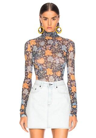 Sheer Floral Turtleneck Top