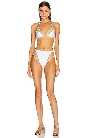 x Cult Gaia Hot Pants Triangle Bikini with Tulle
