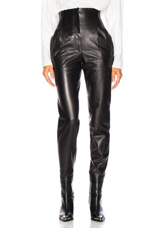 High Waisted Leather Tapered Pants