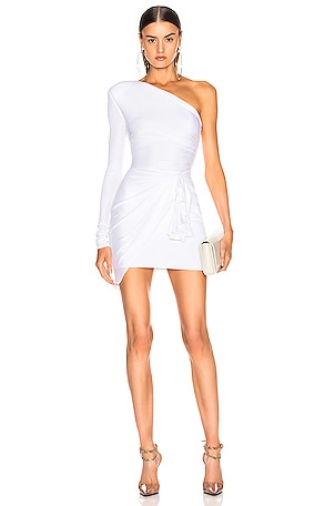 One Shoulder Wrap Mini Dress