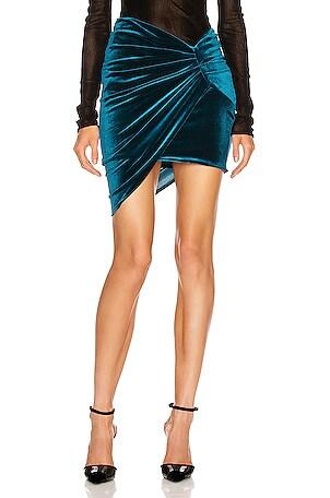 Ruched Velvet Skirt