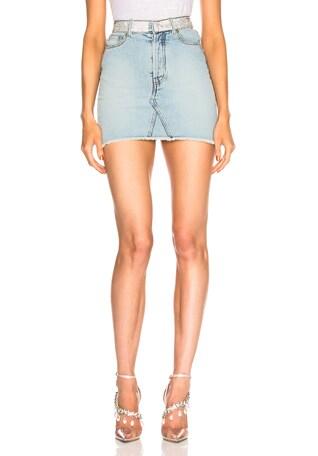 Crystal Belt Denim Mini Skirt