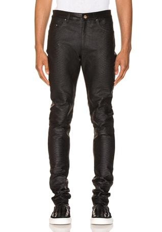 Half Printed Python Leather Pants