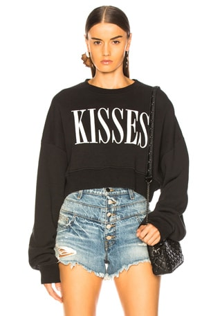 Kisses Cropped Crew Sweater