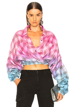 Plaid Crossover Oversized Shirt