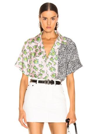 Split Palm Leopard Short Sleeve Shirt