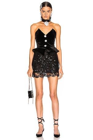 Sequin Velvet & Lace Bustier Mini Dress