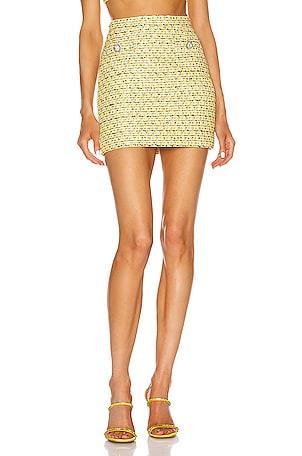 Sequin Tweed Mini Crystal Button Skirt