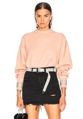 Crystal Cuff Crew Neck Sweater