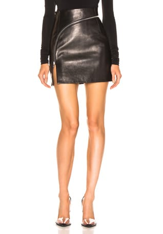 Leather Zip Detail Mini Skirt
