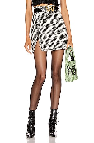 Tweed Zipper Mini Skirt