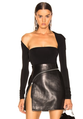 Asymmetric Draped Back Bodysuit