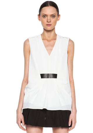 Poly Gathered Top with Leather Belt