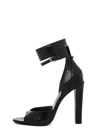 Aminata Croc & Lizard Print Ankle Cuff Sandal