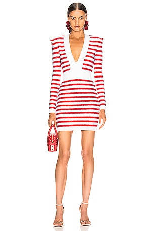 V Neck Tricolored Stripe Dress