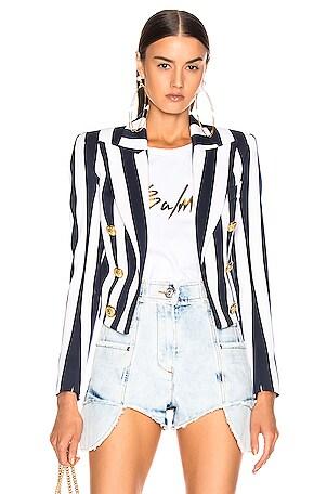 Smoking Collar Striped Button Jacket