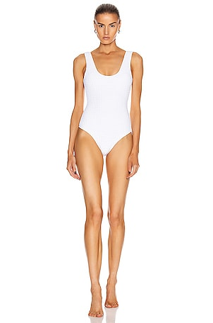 Square Quilted One Piece Swimsuit