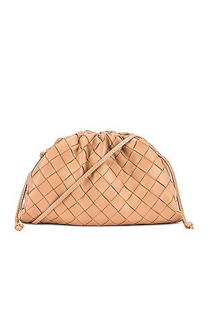 Mini Leather Woven Pouch Clutch Crossbody Bag