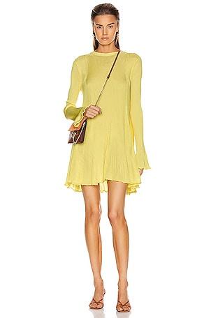Ribbed Ruffle Mini Dress