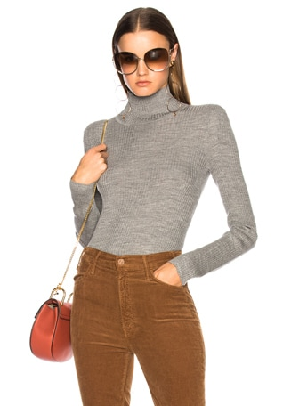 Superfine Ribbed Knit Turtleneck Sweater