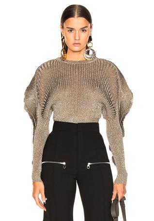 Ruffle Trim Ribbed Sweater