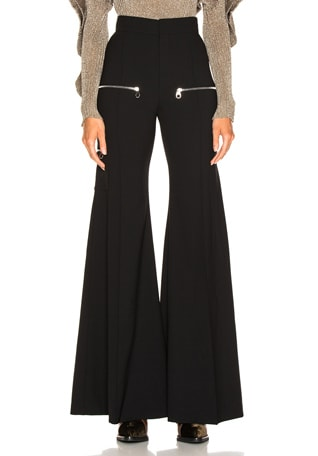 High Rise Zip Detail Flared Pants