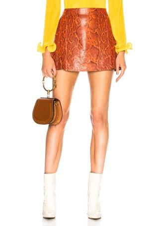 Snakeskin Printed Leather Mini Skirt