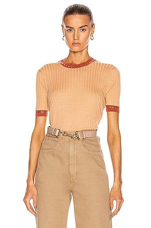 Rib Short Sleeve Top
