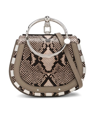 Small Nile Python Print Leather Bracelet Bag