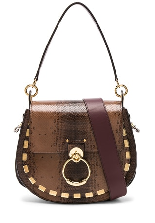 Medium Tess Printed Watersnake Shoulder Bag