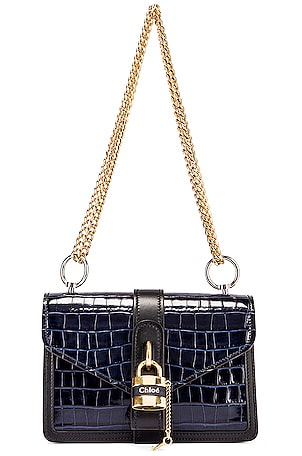 Aby Embossed Croc Chain Shoulder Bag