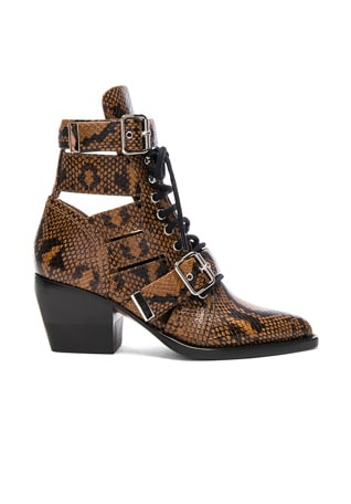 Rylee Python Print Leather Lace Up Buckle Boots