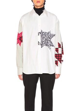 Double Collar Patchwork Shirt