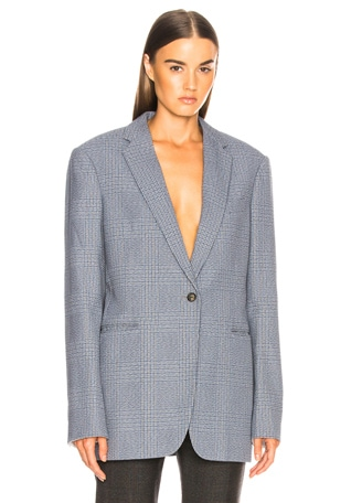 Plaid Single Button Blazer