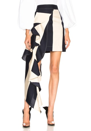 Large Stripe Print Ruffle Skirt