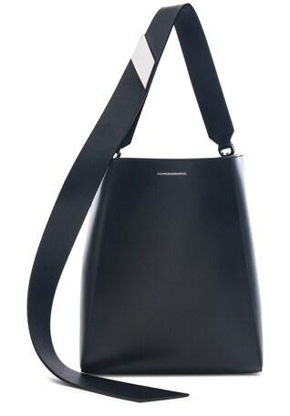 Luxe Calf Leather Stripe Link Bucket Bag