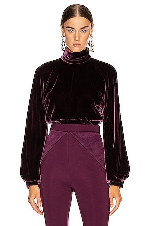 High Neck Billowing Sleeve Blouse