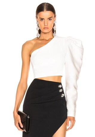 Gigot Sleeve Crop Top